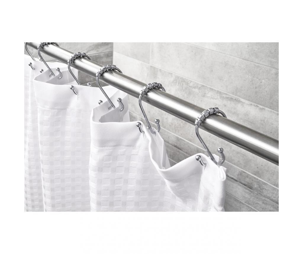 Zestaw 12 haczyków do zasłony prysznicowej Corinne Chrome