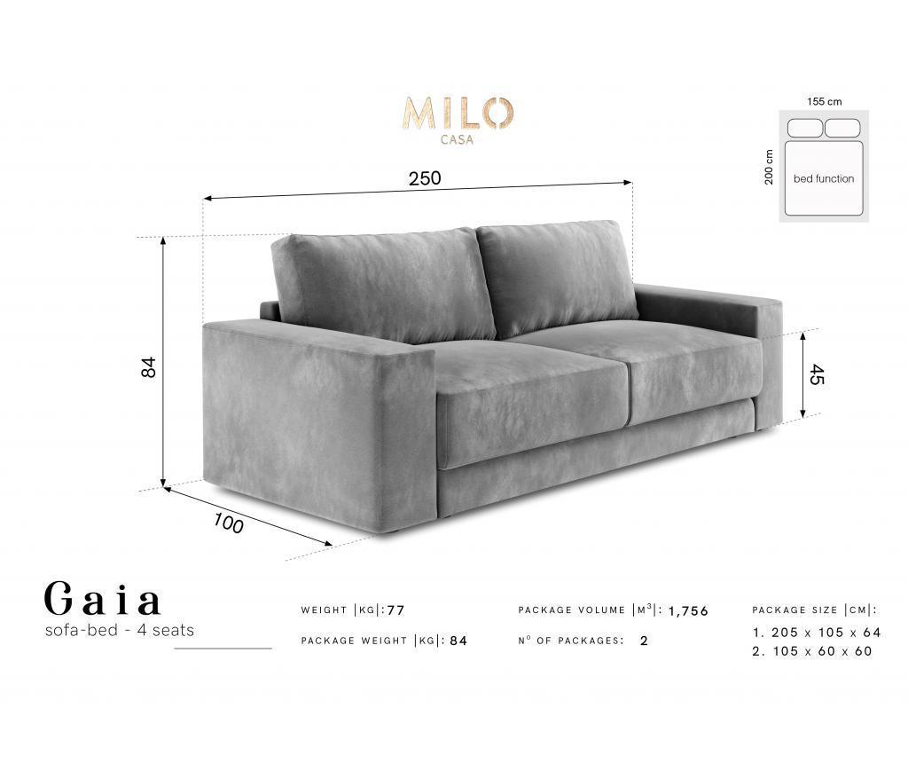 Canapea extensibila cu 4 locuri Gaia Black