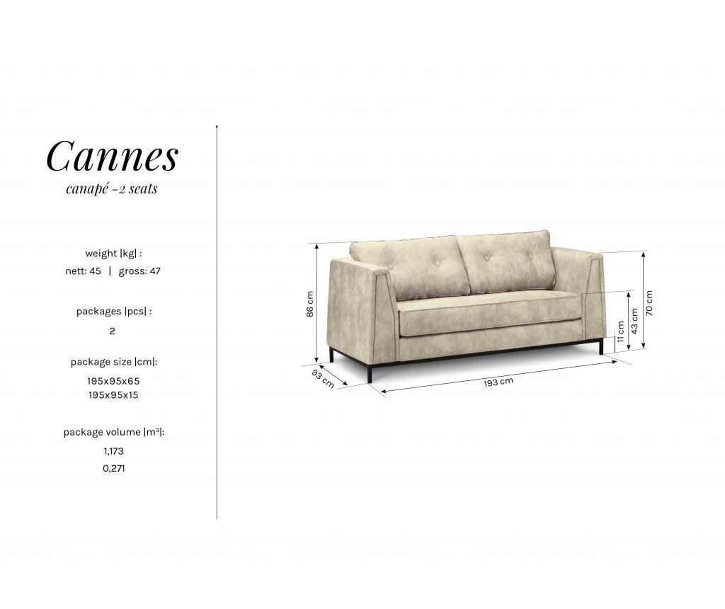 Canapea 2 locuri Cannes Brown