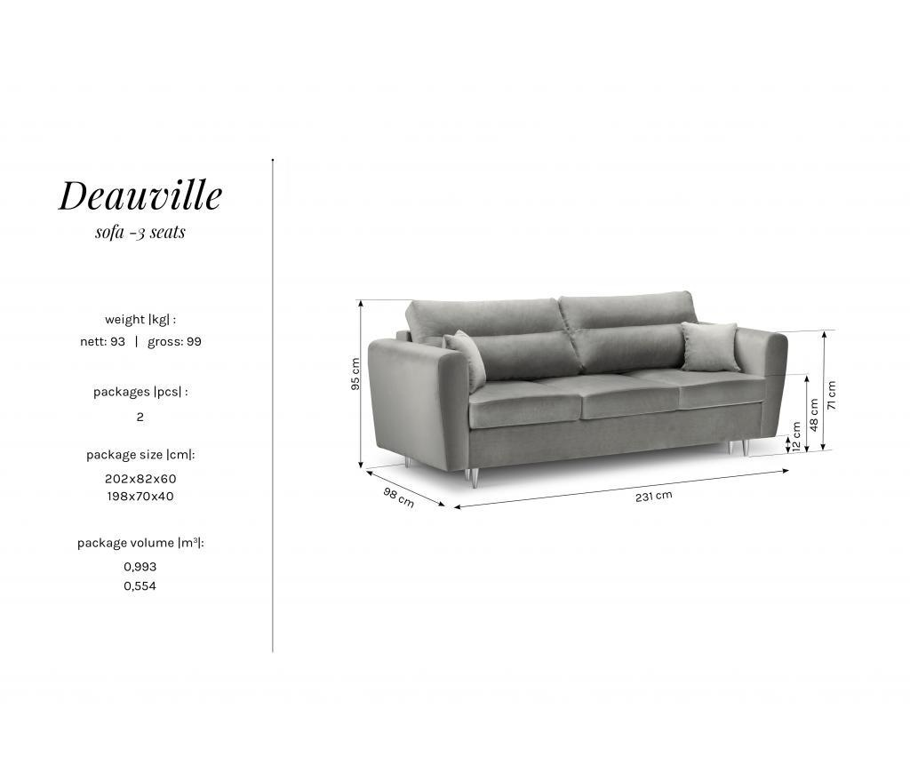 Canapea 3 locuri Deauville Light Blue