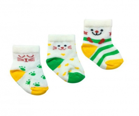 Sada 3 párov detských ponožiek 0-6 m.