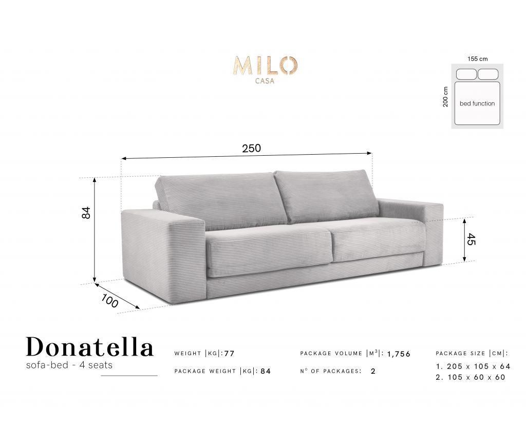Kauč četvorosjed na razvlačenje Donatella  Beige