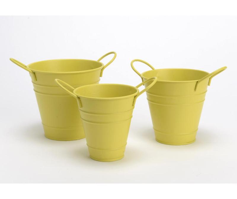 Set 3 ghivece Bucket Yellow