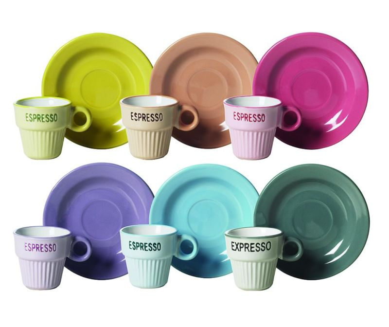 Set 6 cesti si 6 farfurioare pentru cafea Coffee Time Multicolor 90 ml