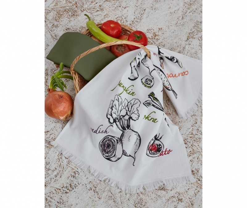 Set 2 kuhinjskih brisač Mix Vega White Green 45x65 cm