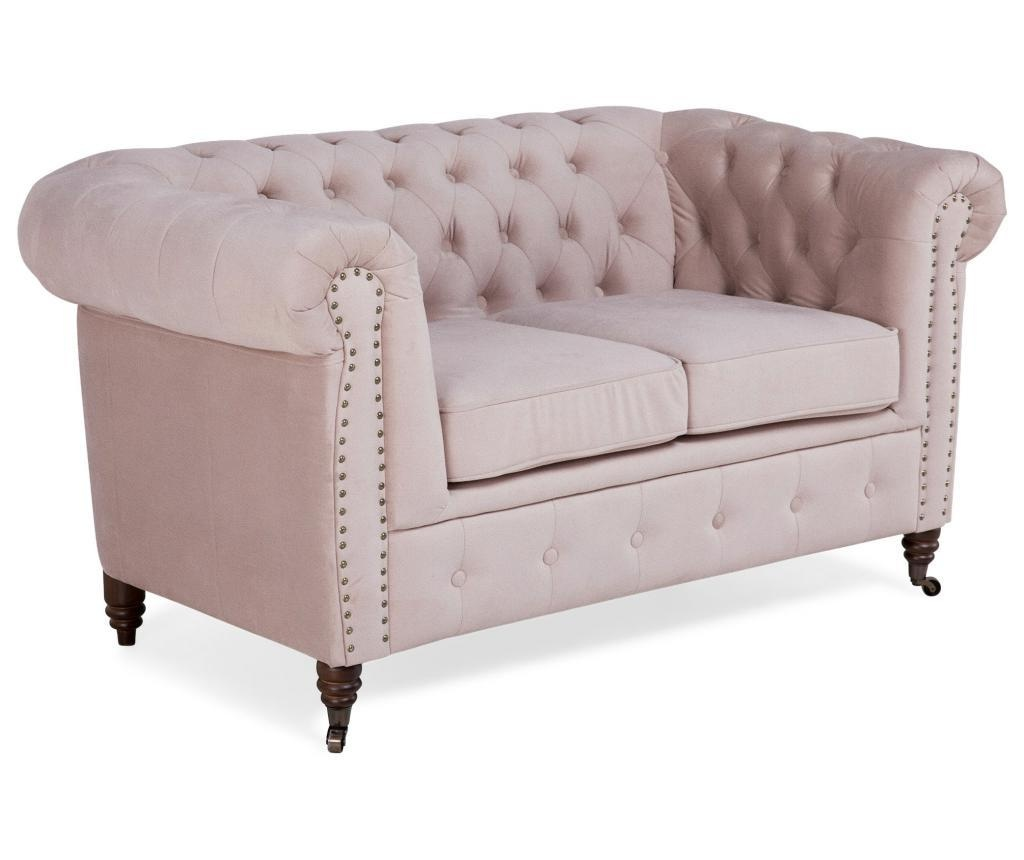 Kauč dvosjed Chesterfield Light Pink Jasmine Velvet