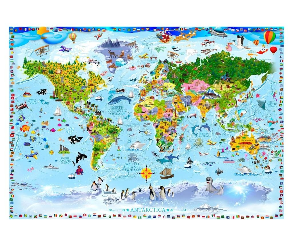 World Map For Kids Fotótapéta 105x150 cm