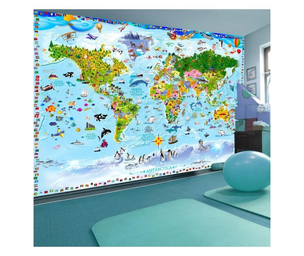 World Map For Kids Fotótapéta 175x250 cm