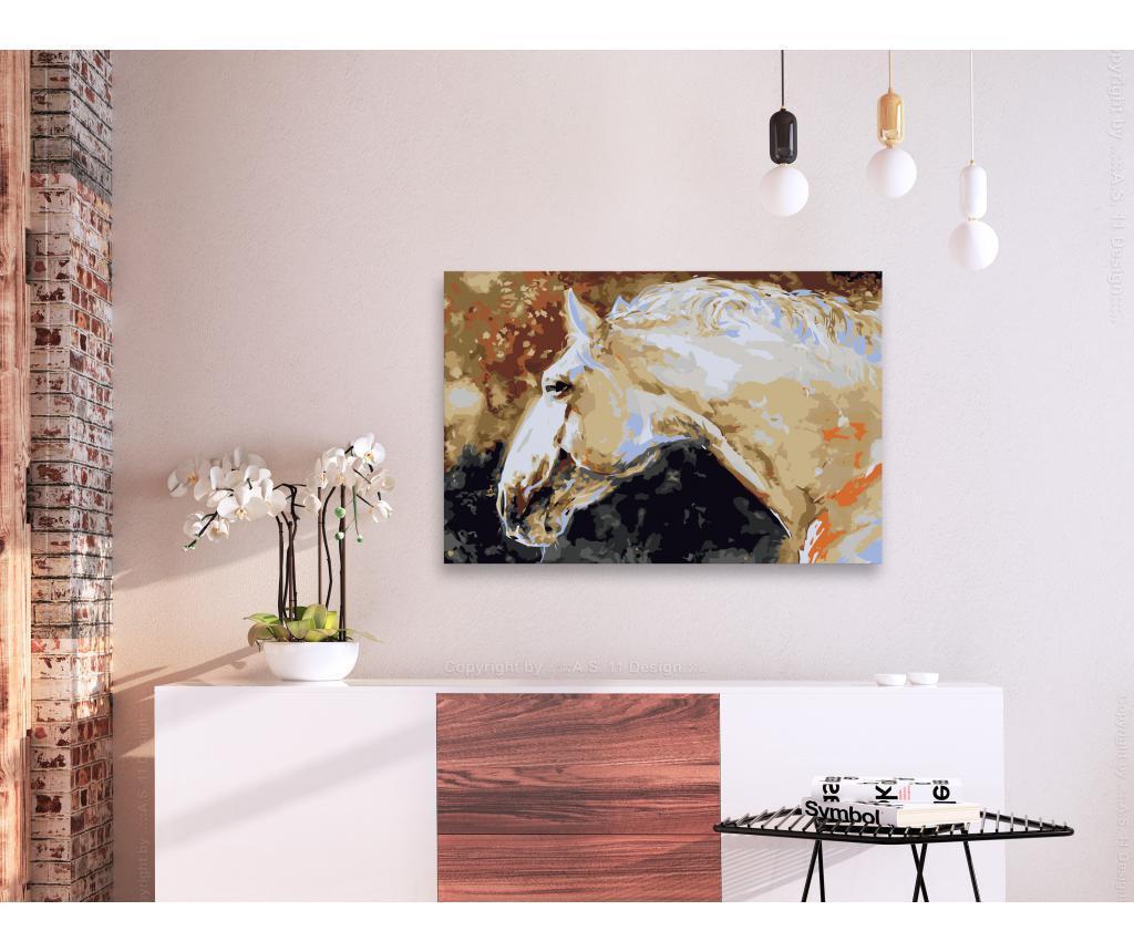 Kit tablou canvas DIY dupa numere White Horse 40x60 cm