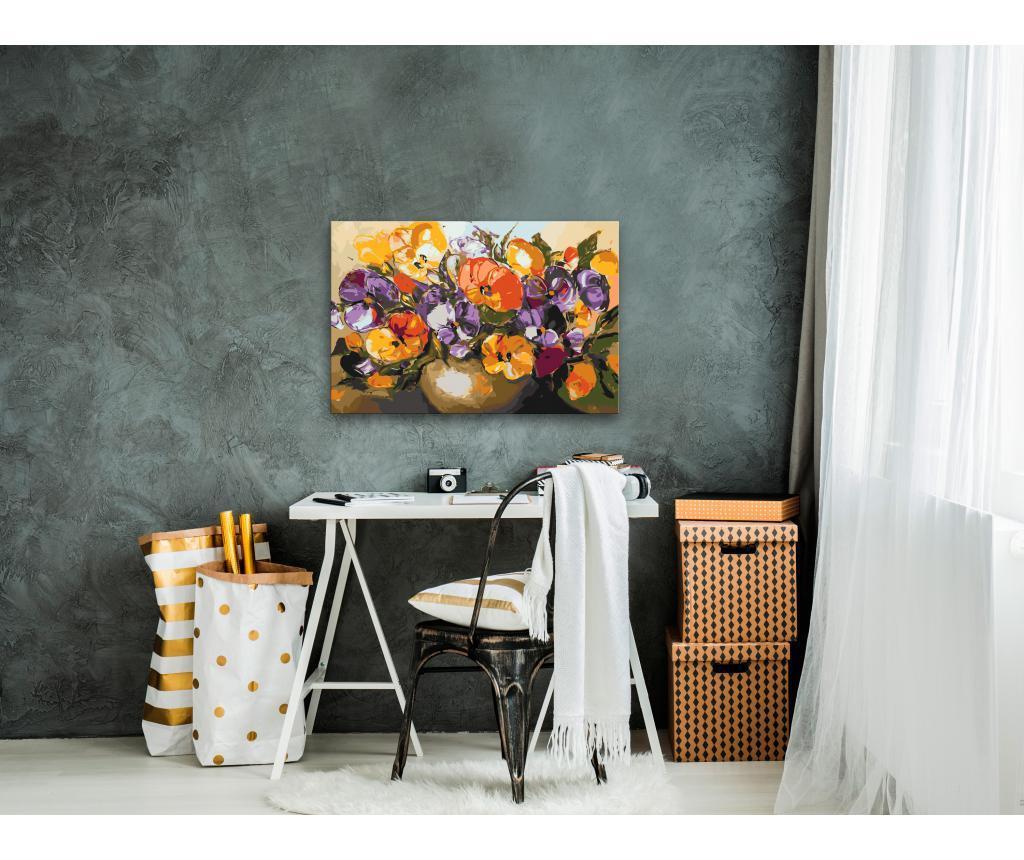 Kit tablou canvas DIY dupa numere Vase Of Pansies 40x60 cm