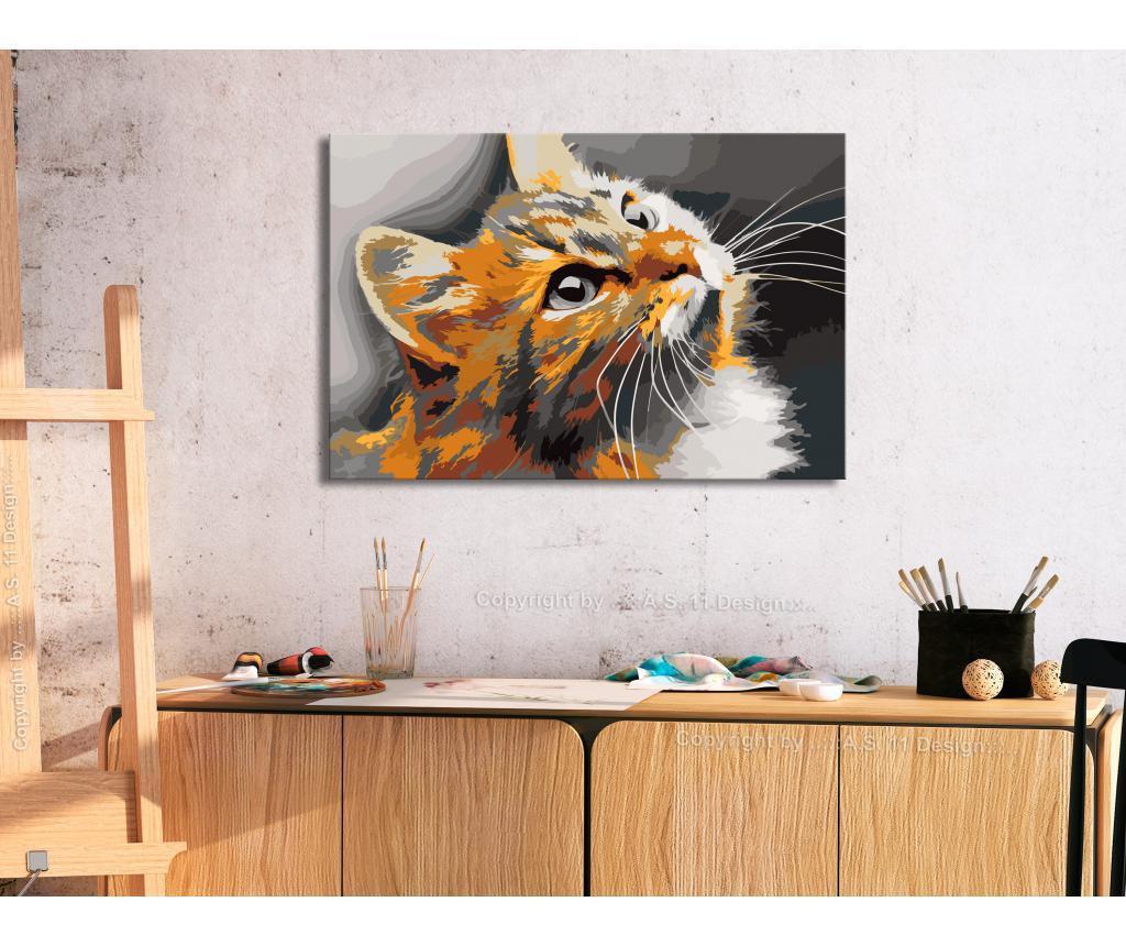 Kit tablou canvas DIY dupa numere Red Cat 40x60 cm