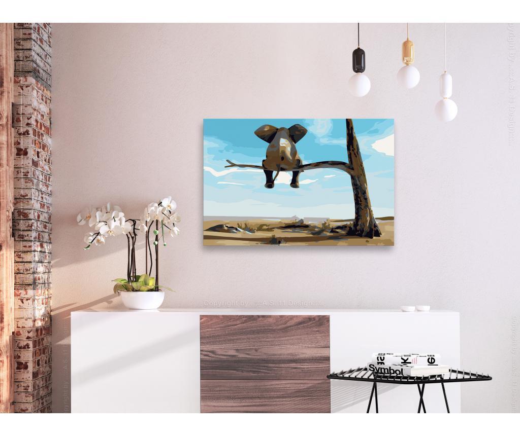 Kit tablou canvas DIY dupa numere Elephant In A Tree 40x60 cm