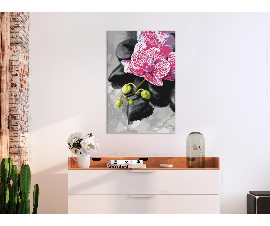 Kit tablou canvas DIY dupa numere Pink Orchid 40x60 cm