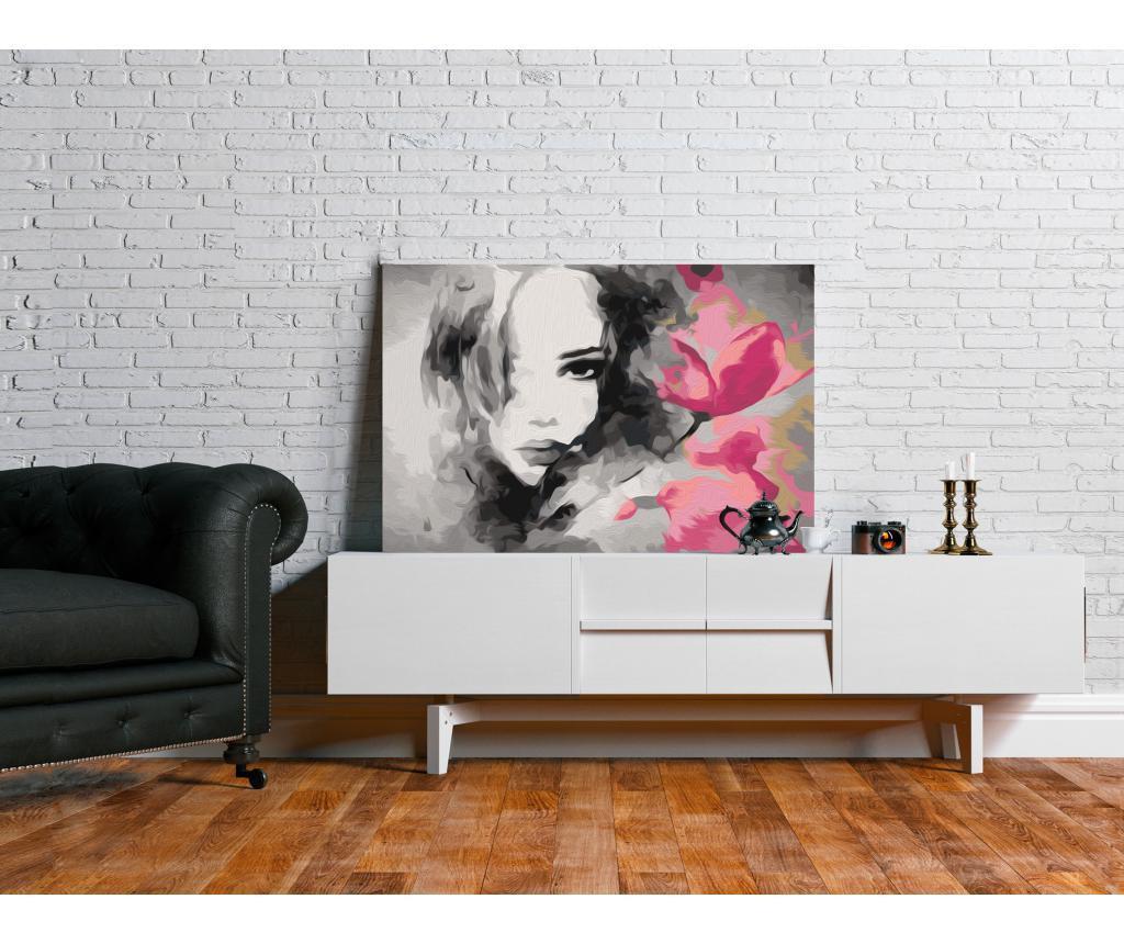 Black & White Portrait With A Pink Flower DIY kanavász kép 40x60 cm