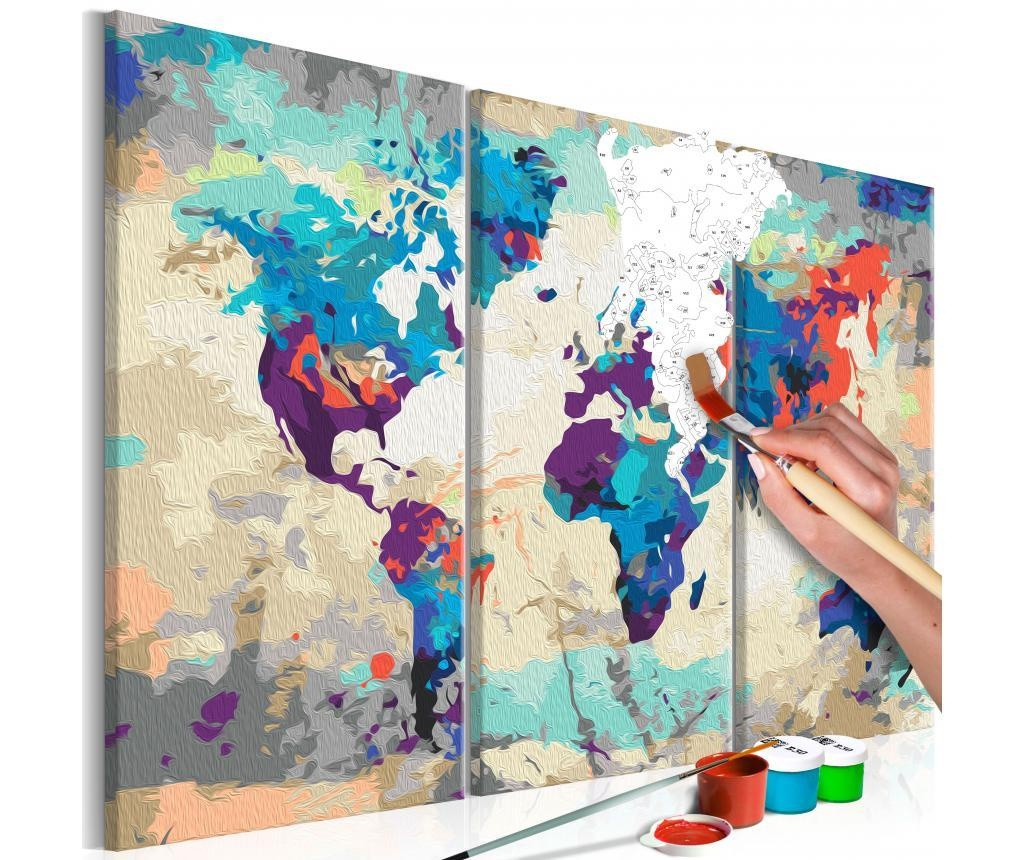 World Map (Blue & Red) 3 Parts 3 db DIY kép 20x40 cm