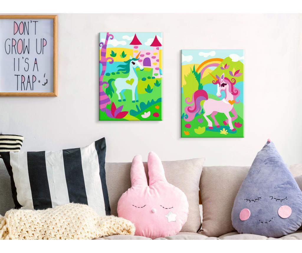 Fairytale Unicorns 2 db DIY Kép  16.5x23 cm