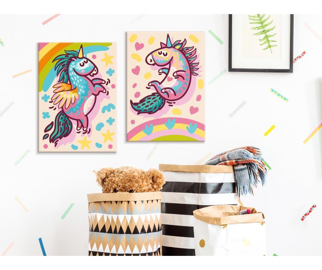 Set 2 tablouri DIY dupa numere Chubby Unicorns 16.5x23 cm