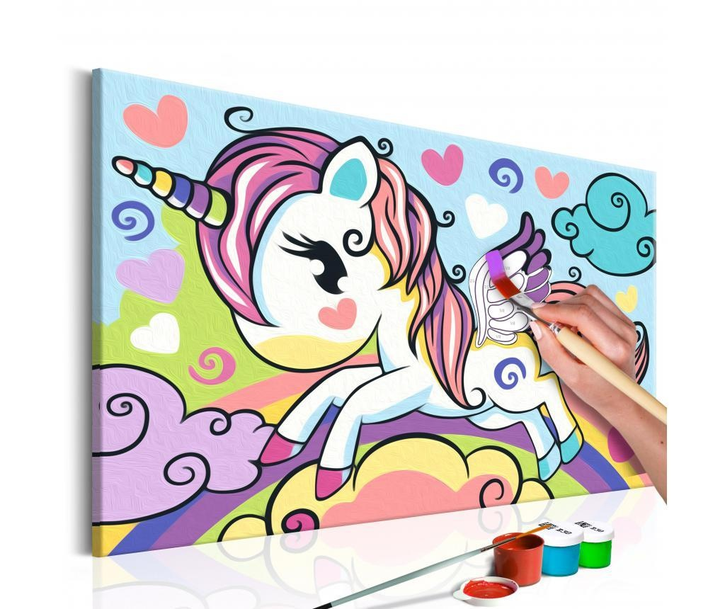 Colourful Unicorn DIY kanavász kép 23x33 cm