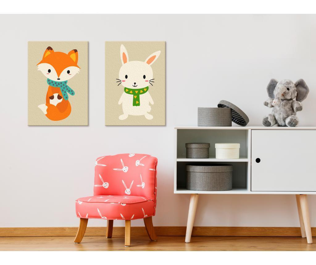 Fox & Bunny 2 db DIY Kép  16.5x23 cm