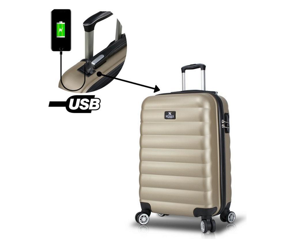 Valiza cu port USB Colors Gold S