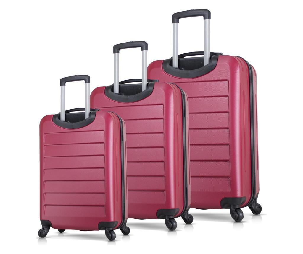 Ruby Claret Red 3 db Gurulós bőrönd