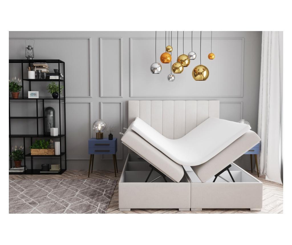 Saint Tropez Beige Boxspring ágy tárolóhellyel 160x200 cm