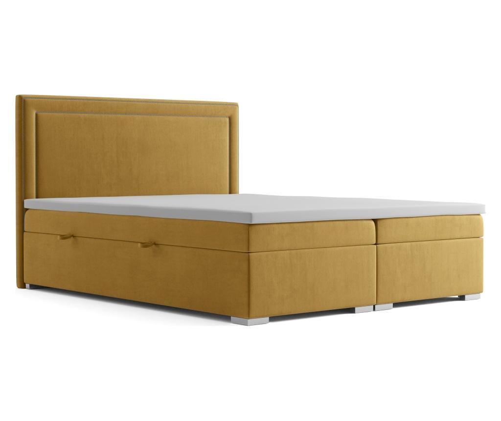 Annecy Mustard Boxspring ágy tárolóhellyel 160x200 cm