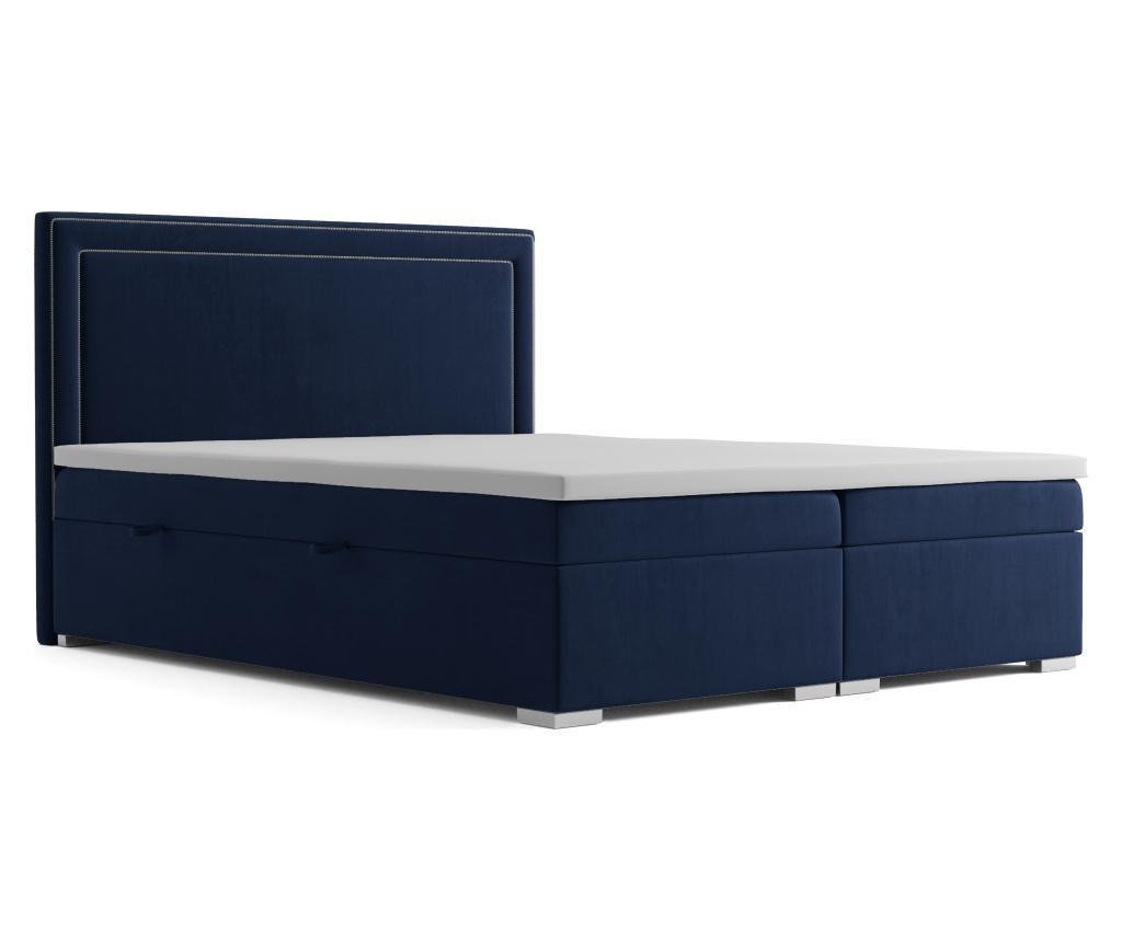 Annecy Navy Blue Boxspring ágy tárolóhellyel 160x200 cm