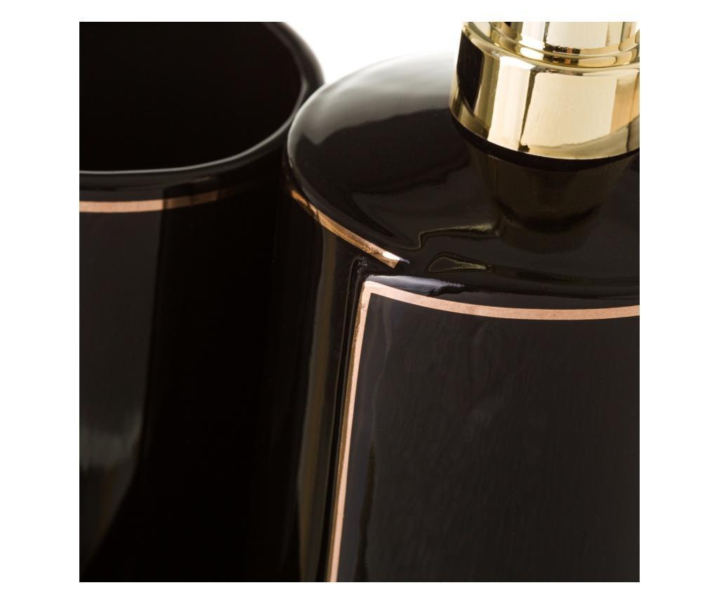 Elegance Black Szappanadagoló és fogkefe tartó