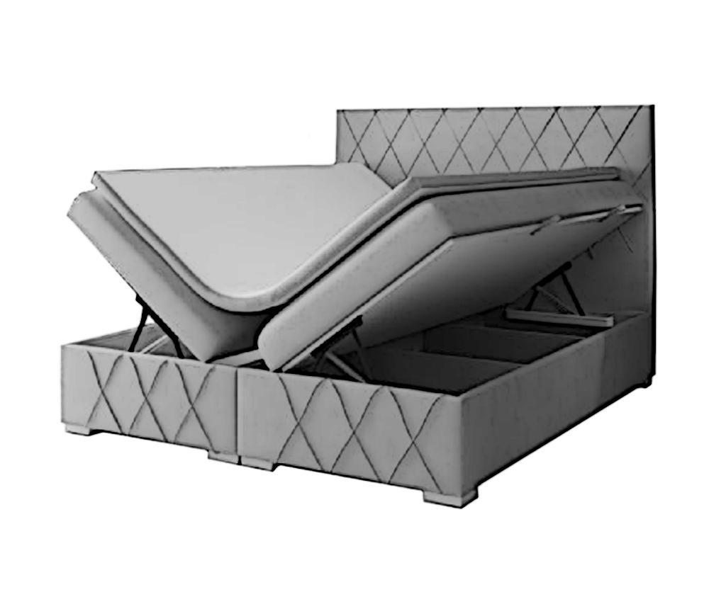 Nantes Dark Grey Boxspring ágy tárolóhellyel 180x200 cm