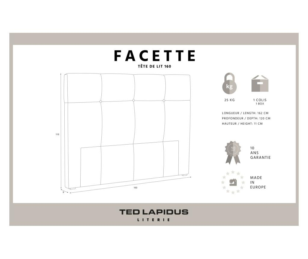 Tablie de pat Facette Cream 160x118 cm