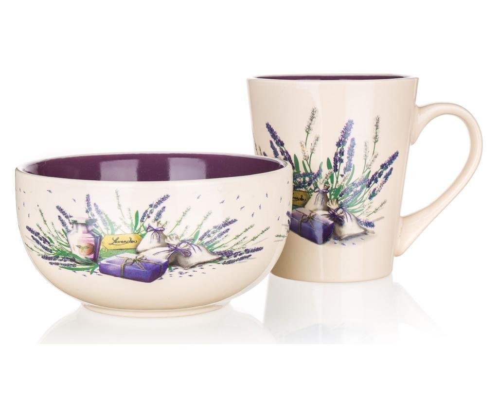 Set cana si bol Lavender Flowers