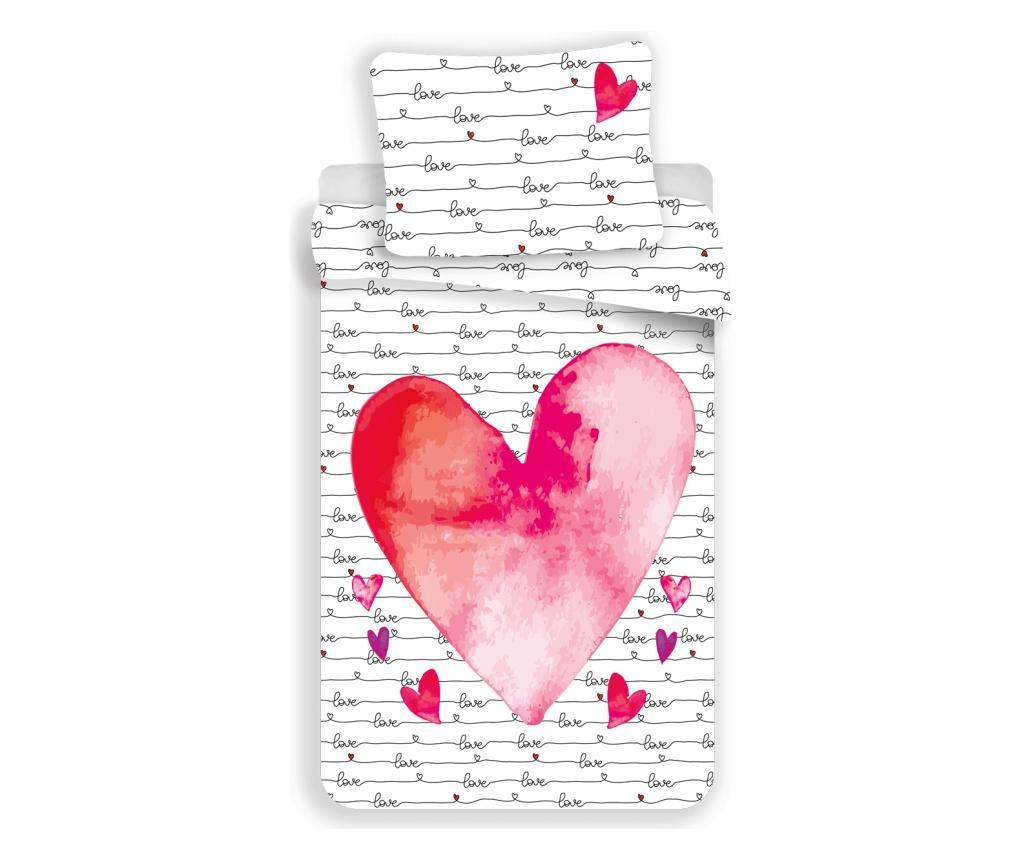 Posteljina Single Ranforce Pique Hearts