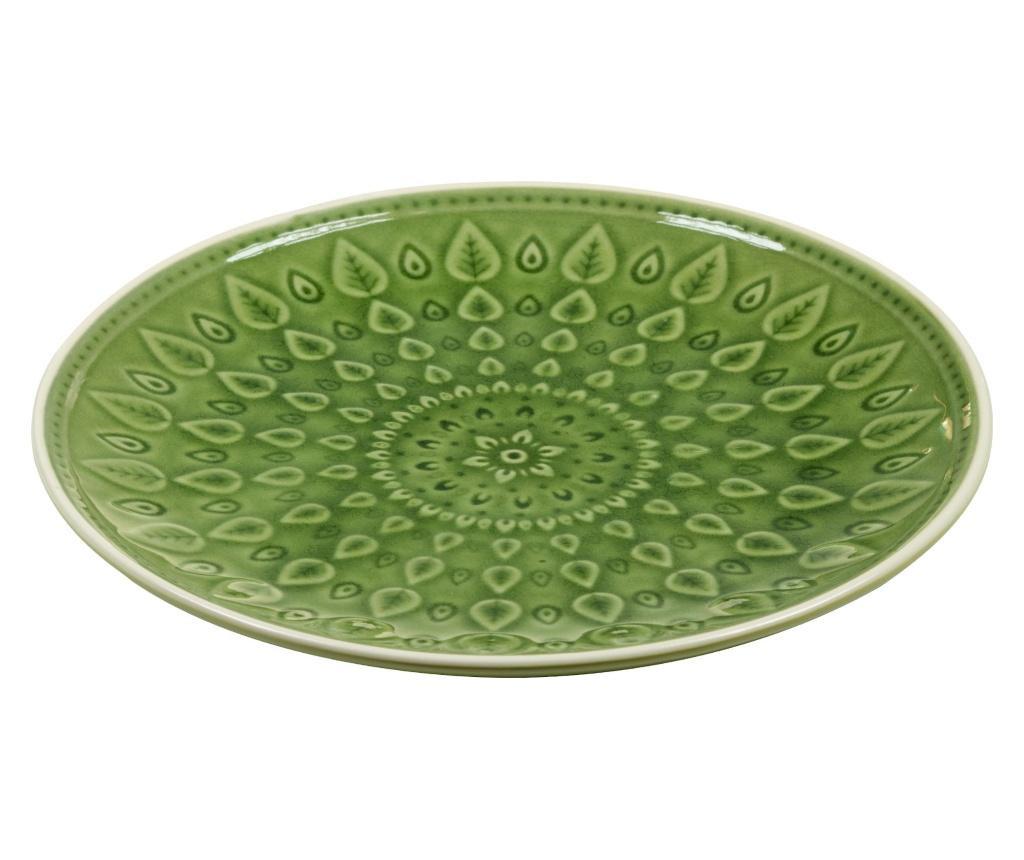 Plitki tanjur Leaf Design Green