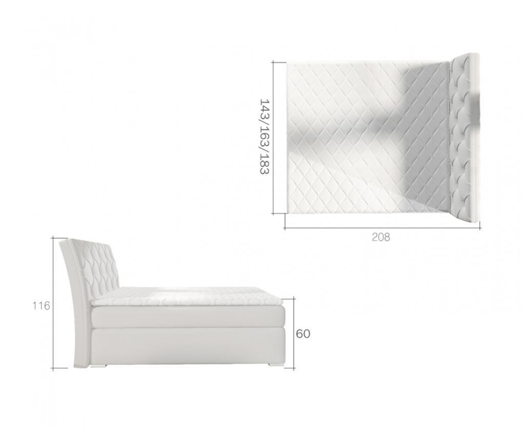Balvin Beige Boxspring ágy tárolóhellyel 160x200 cm