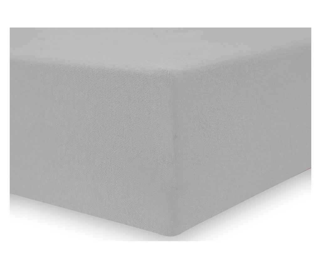 Cearsaf de pat cu elastic Amelia Silver 90x200 cm