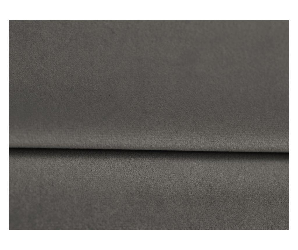 Amaryllis Velvet Dark Grey and Black Chrome Four Megfordítható és kihúzható sarokkanapé